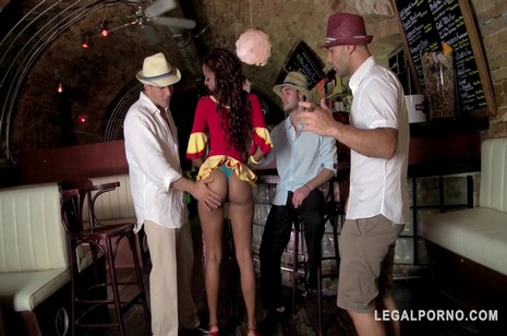 Legalporno - Glam porn - Sexy Latina waitress Katia De Lys craves orgasmic triple dick Salsa fuck GP133